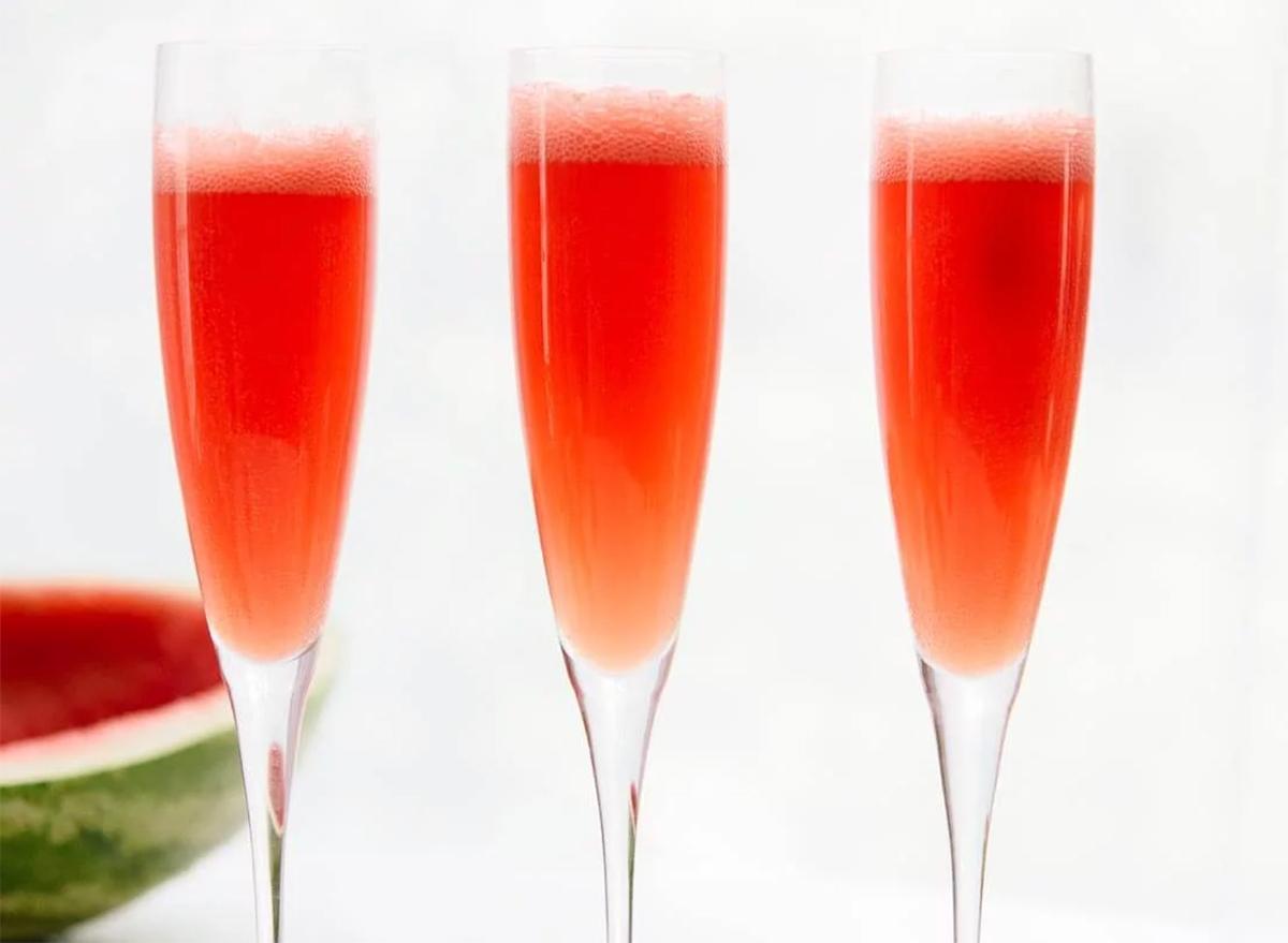Valentine's day dinner watermelon mimosas
