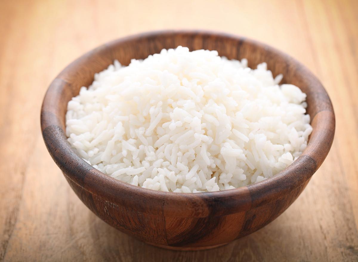 white rice brown bowl