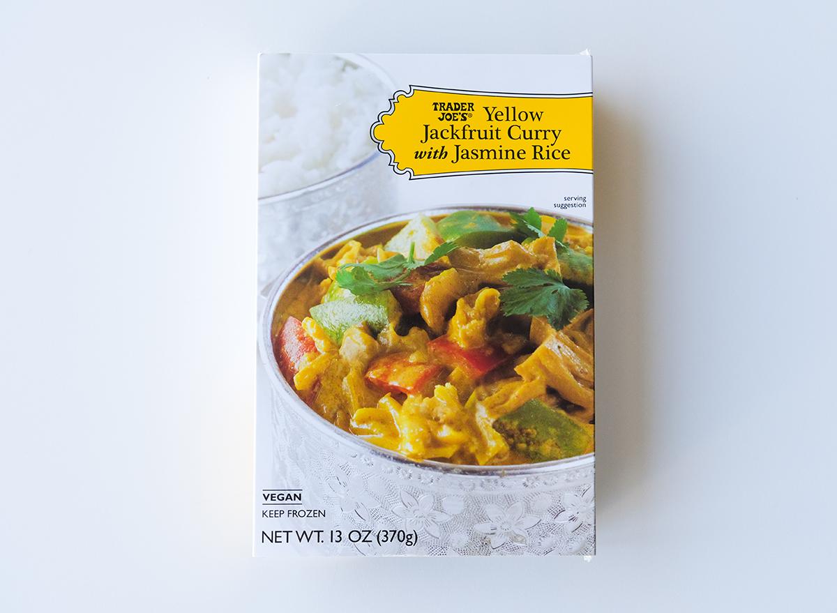 yellow jackfruit curry with jasmine rice from trader joe's