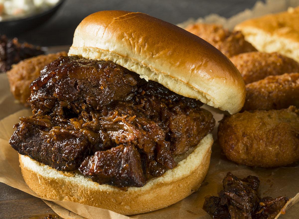 Burnt ends brisket sandwich