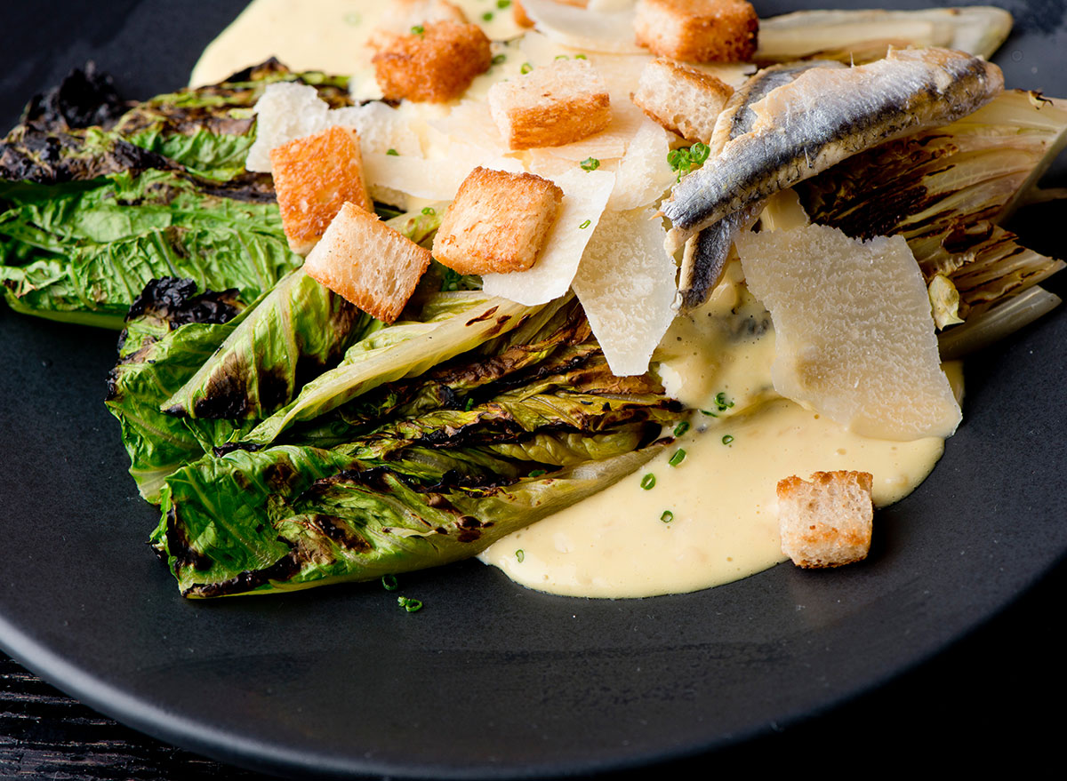 Caesar grilled romaine lettuce salad