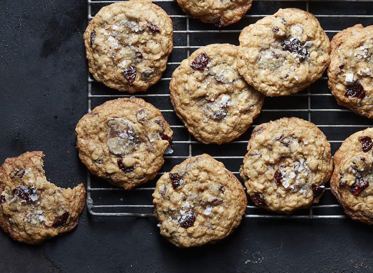 cherry chocolate chip cookies on cooling rack