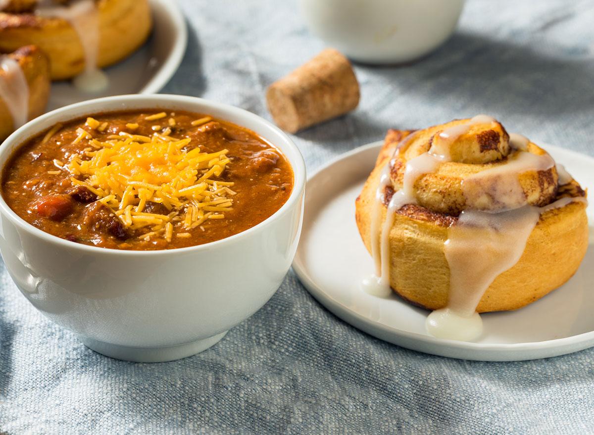 Chili and cinnamon roll dish