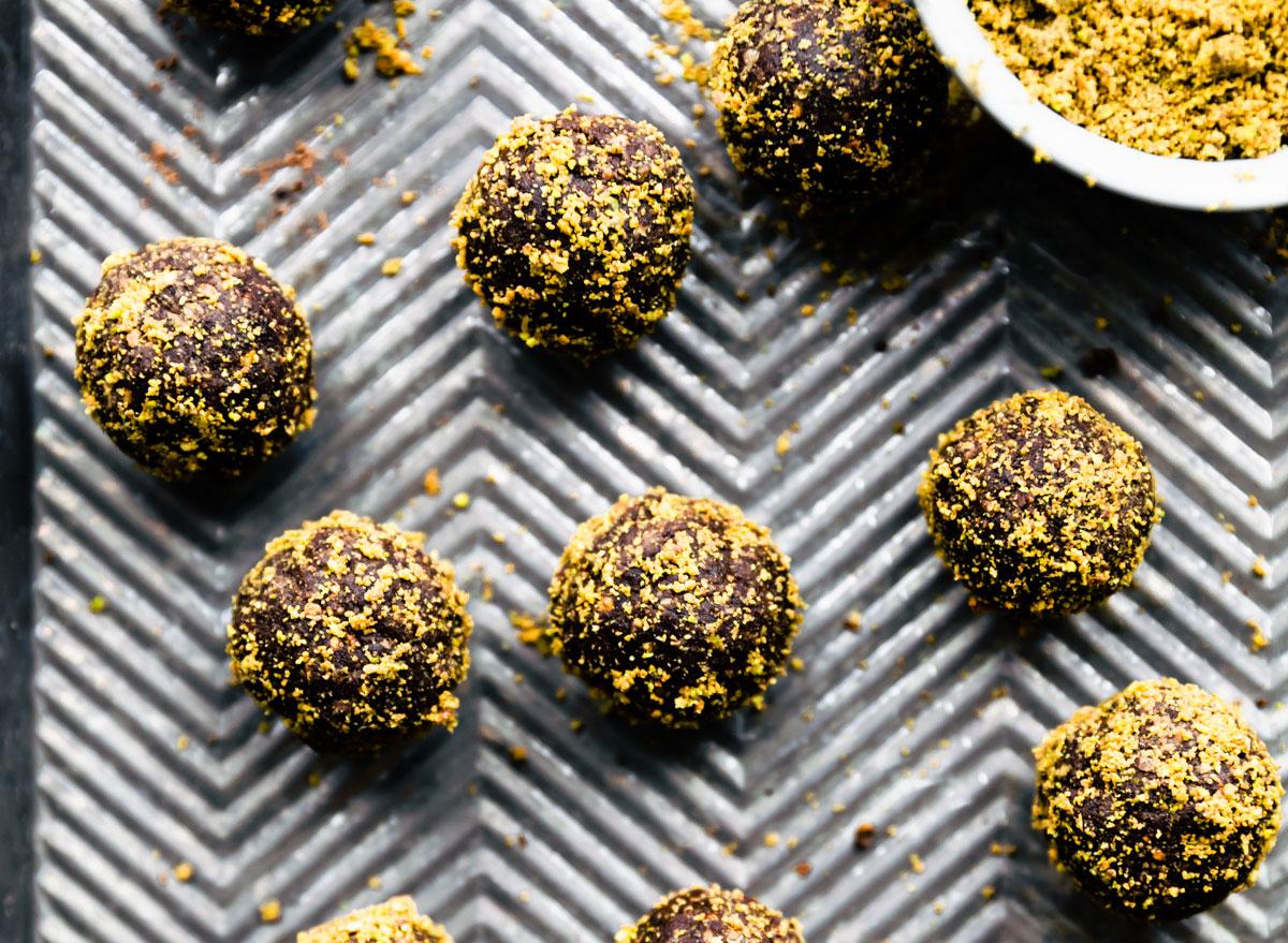 chocolate pistachio protein balls