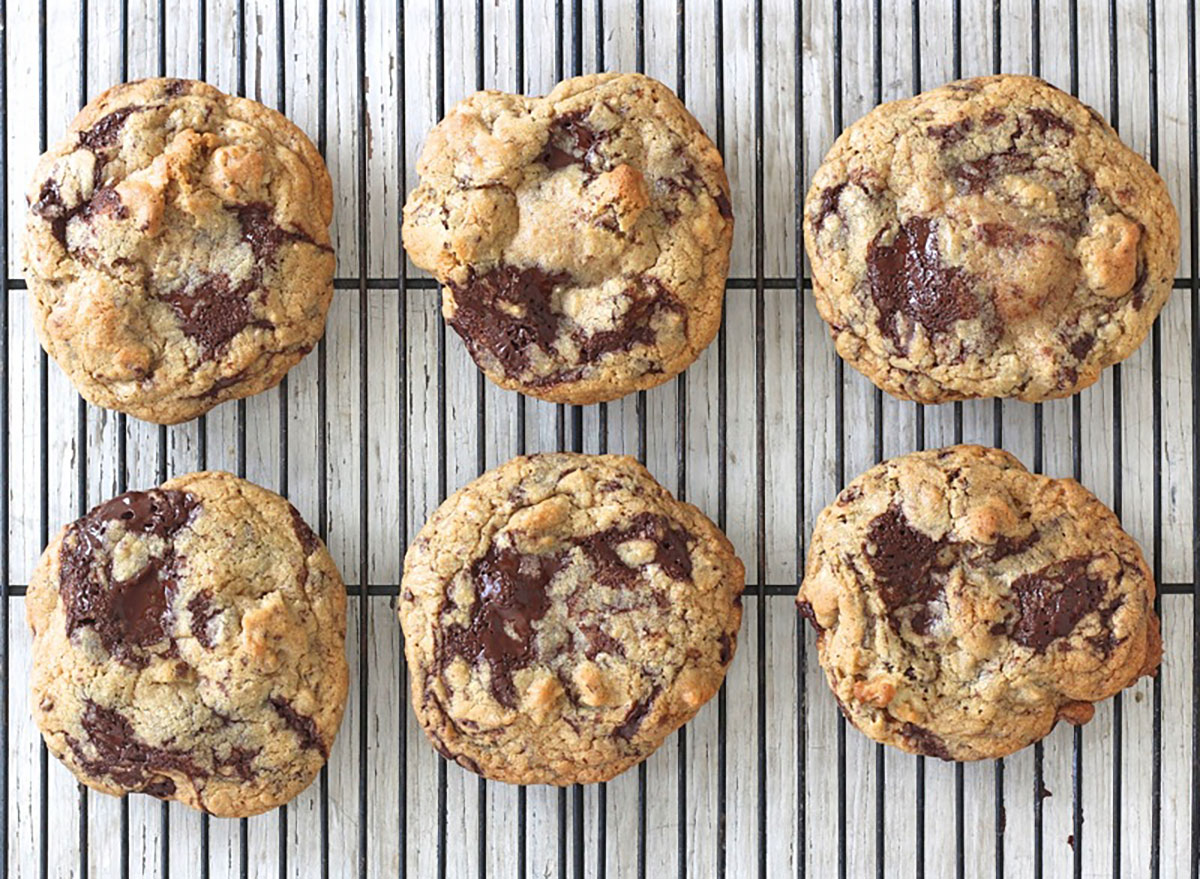 dark chocolate walnut cookies on cooling rack