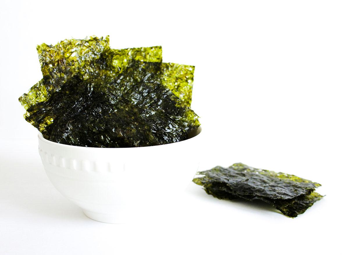 nori edible seaweed in white bowl