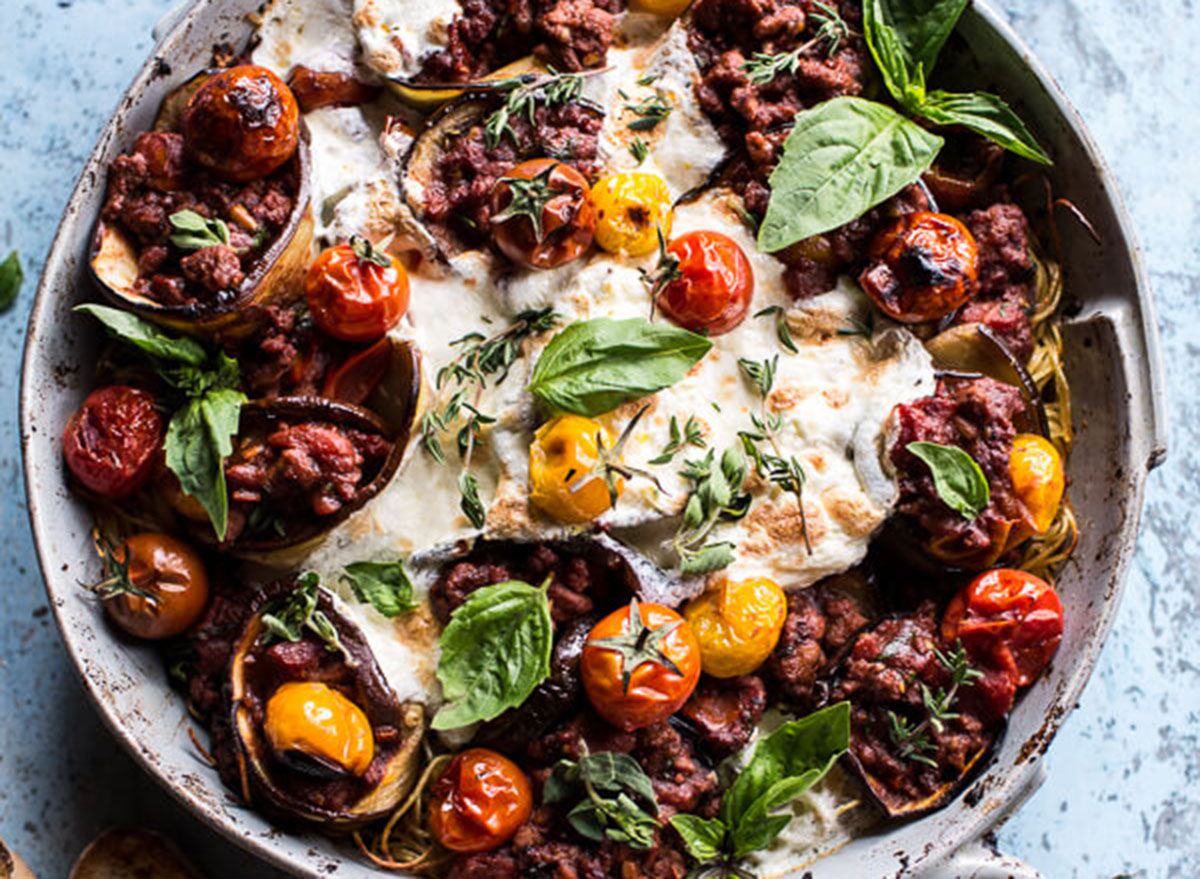 eggplant roll pasta bake
