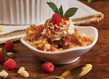 white chocolate bread pudding with caramel sauce