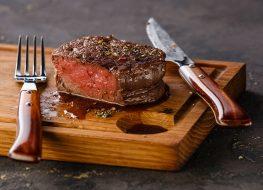filet mignon steak on cutting board