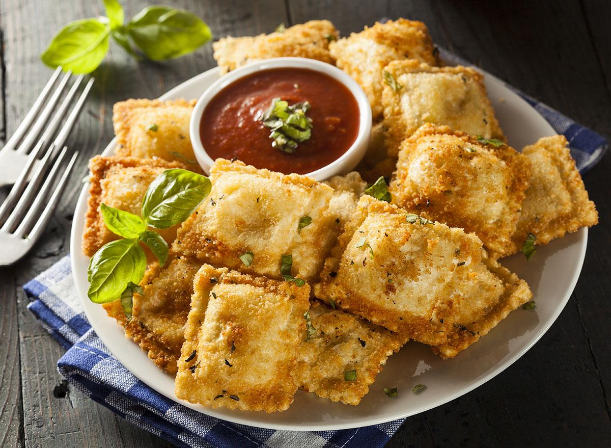 Ravioli fried in bread crumbs