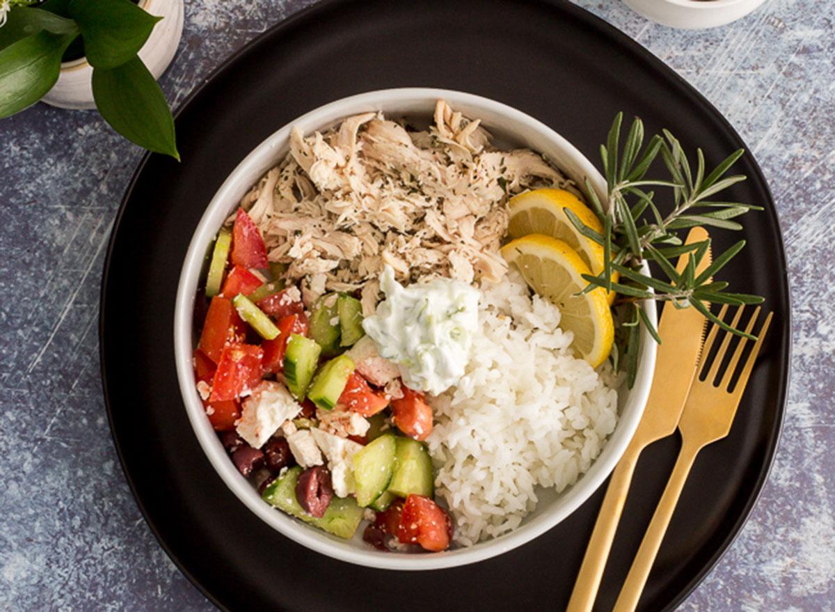greek chicken rice bowl