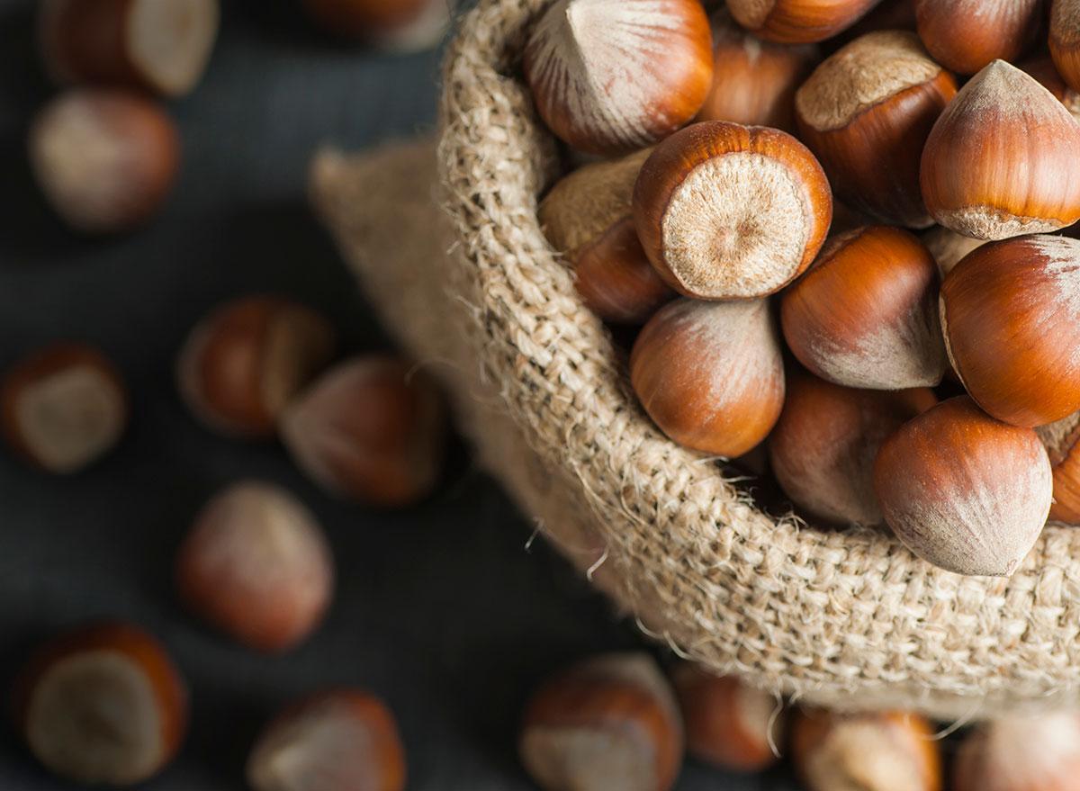 hazelnuts in burlap container