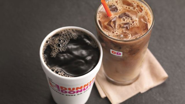 Hot and iced coffee at dunkin donuts