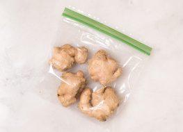 ginger in a ziplock plastic bag