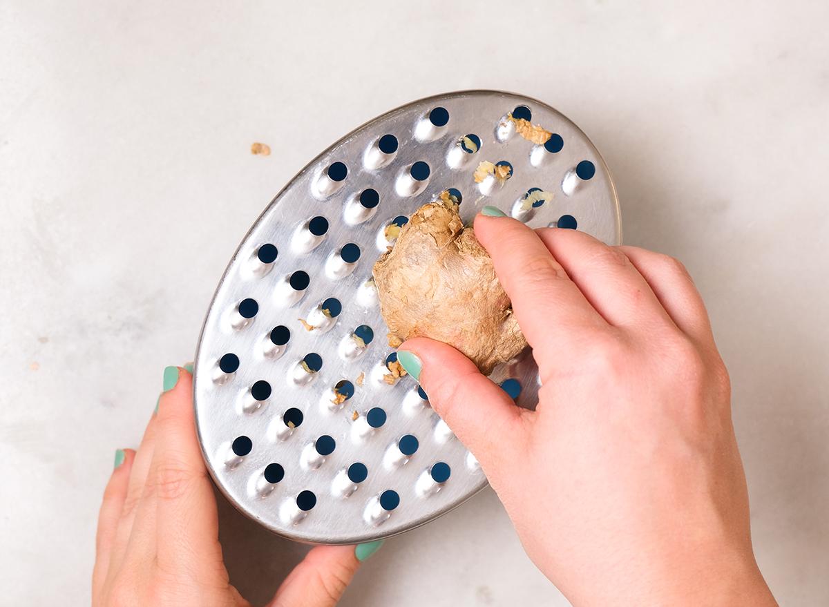 grating frozen ginger