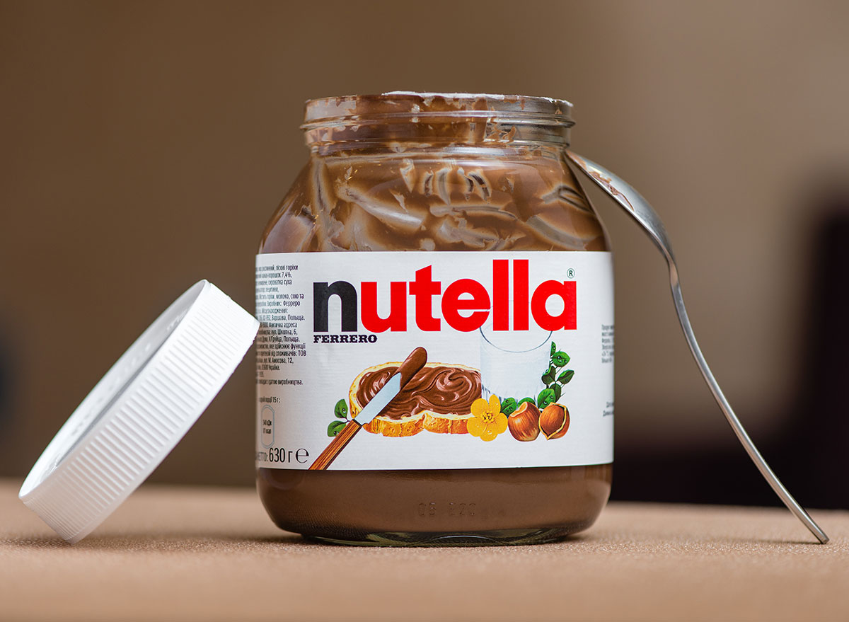 jar of nutella and spoon
