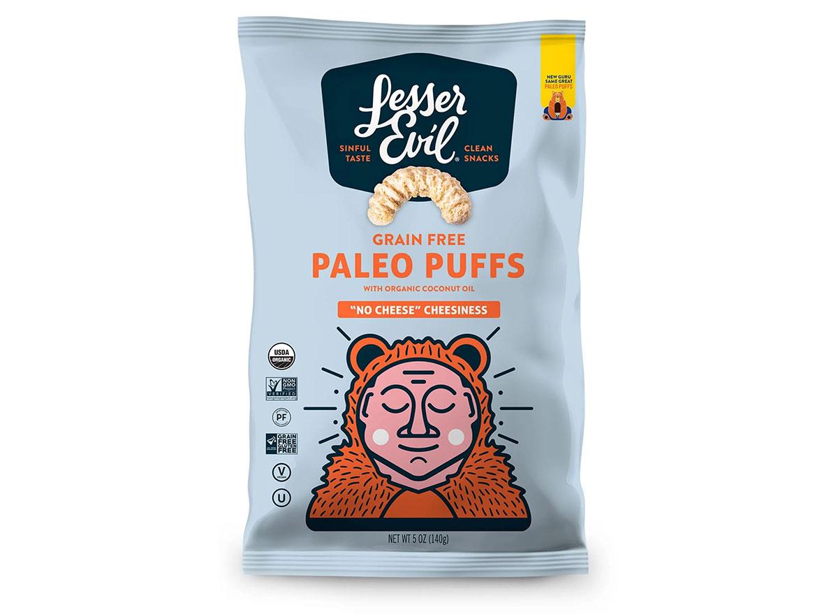 bag of lesser evil paleo puffs snacks
