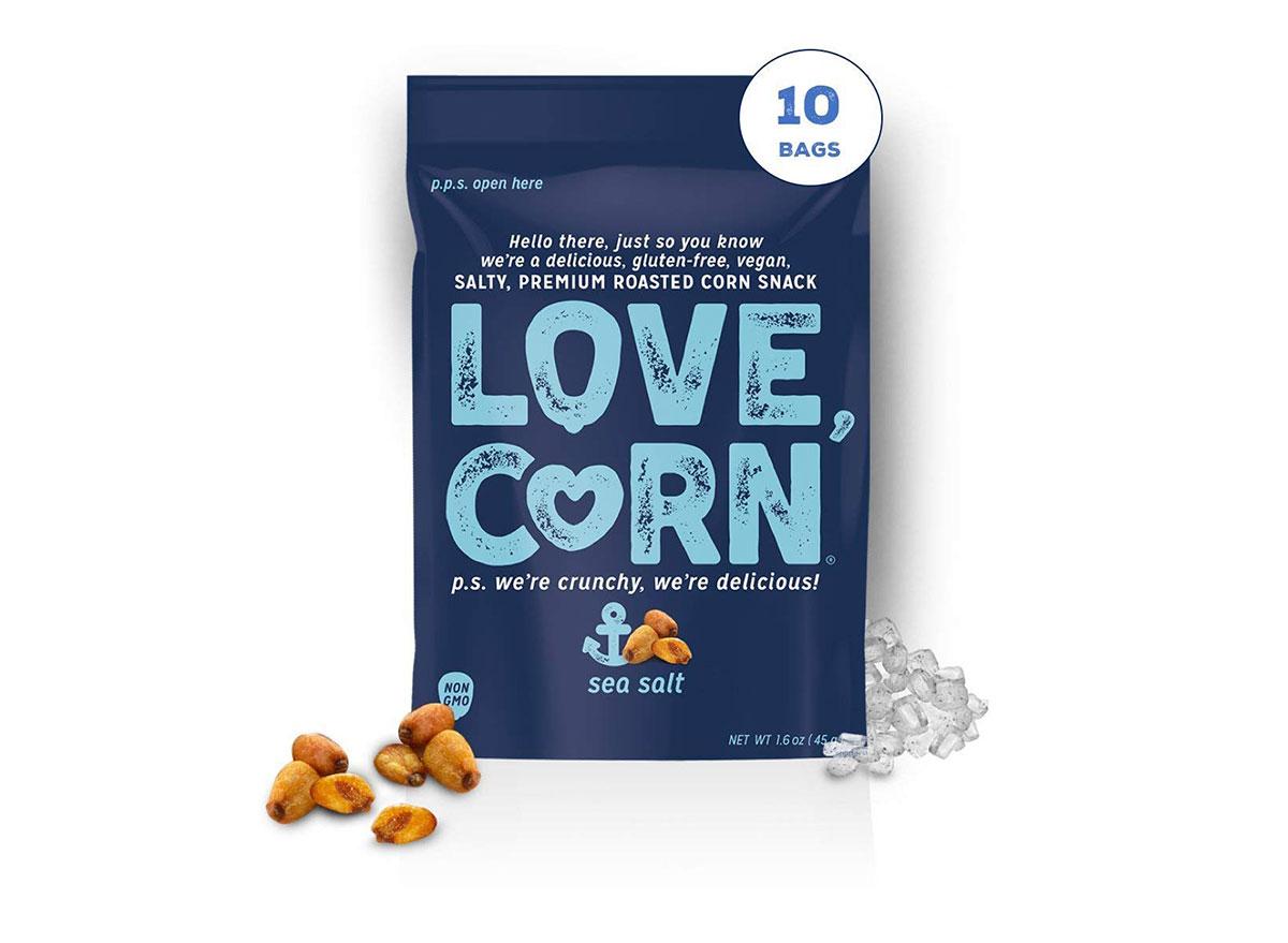 bag of love corn kernel snacks