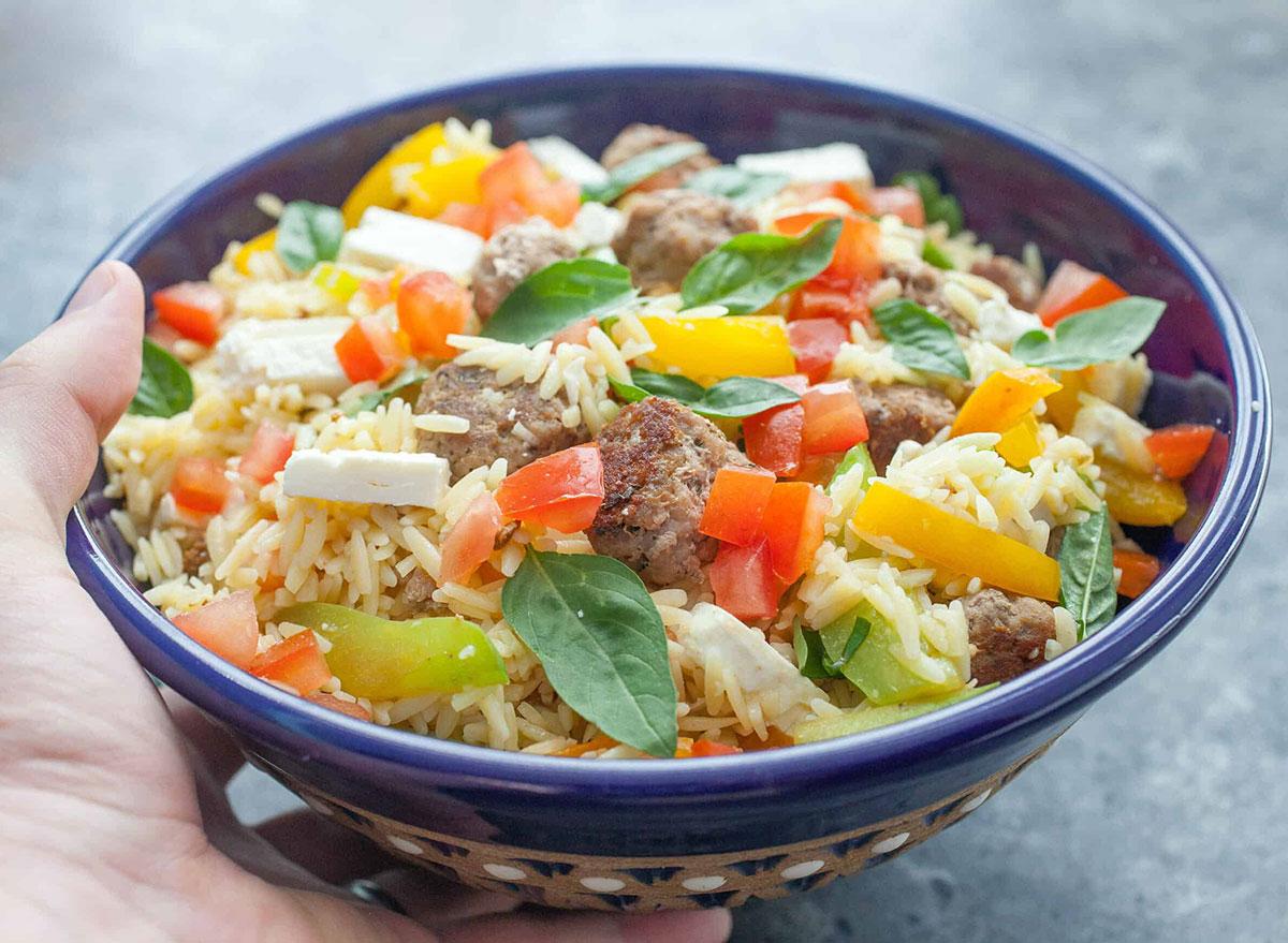 meatball orzo salad