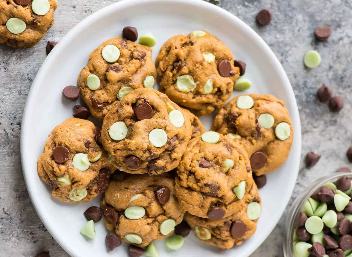 plate of mint chocolate chip cookies