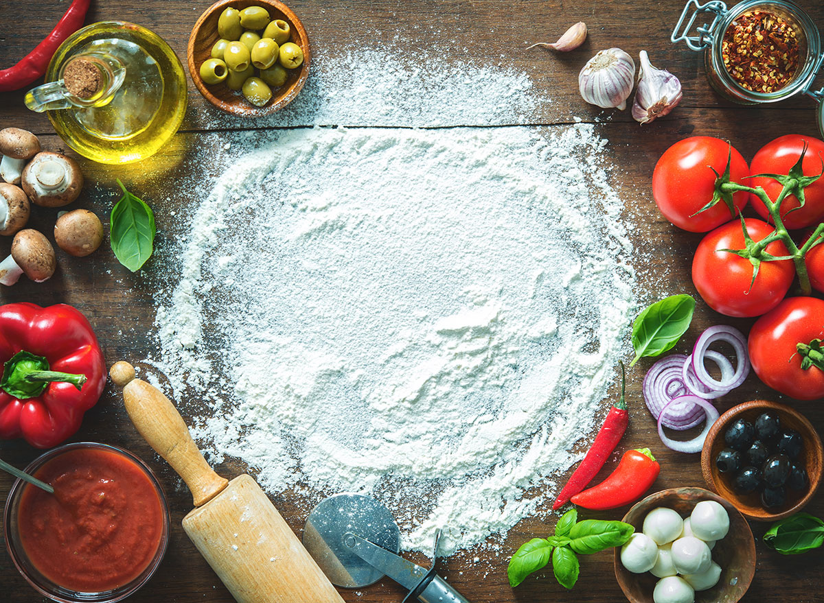 Pizza ingredients and flour