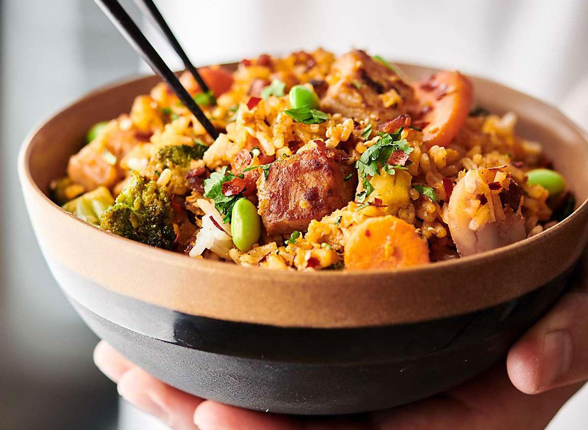 pork fried rice and veggies
