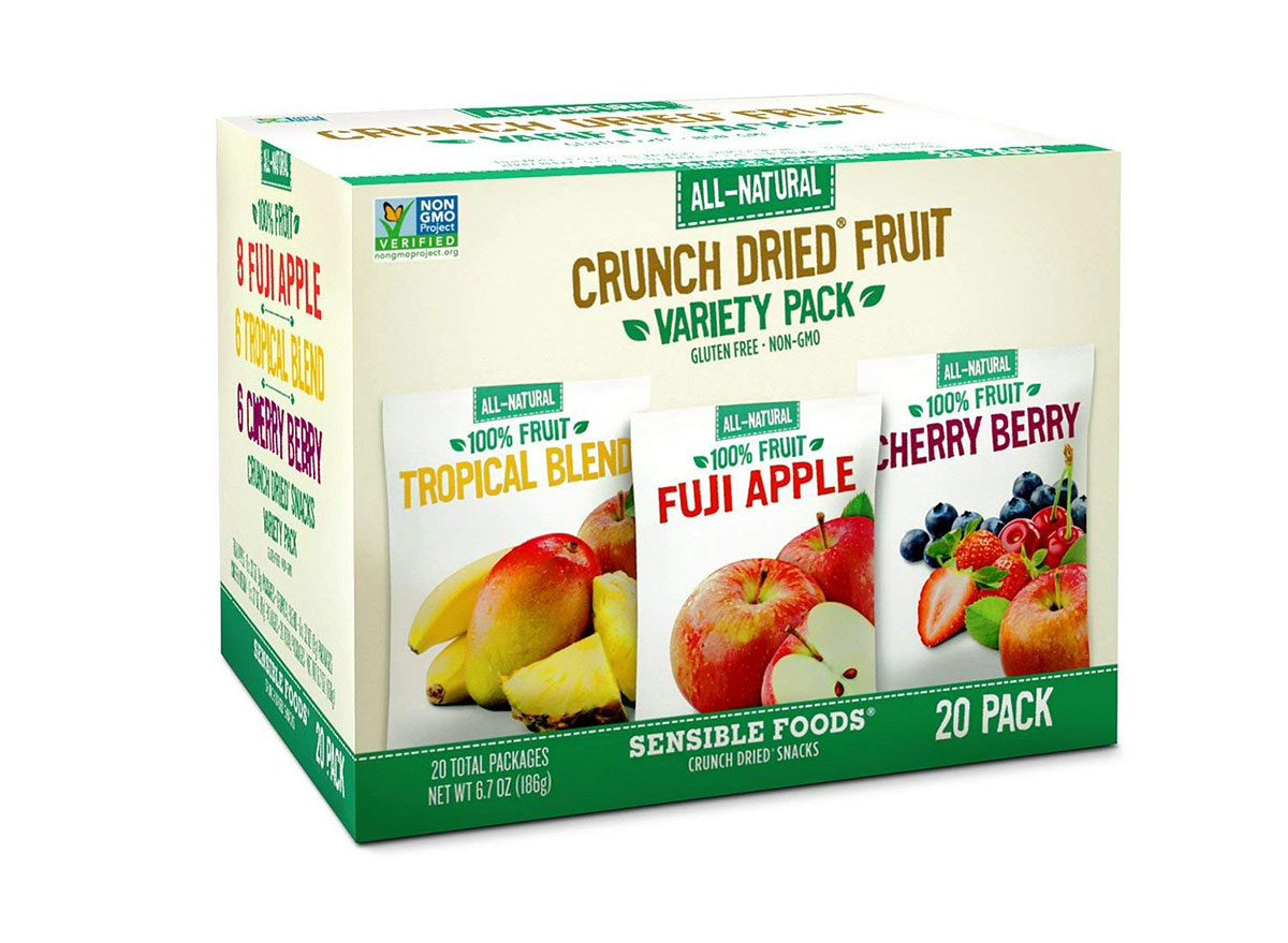 box of sensible foods crunch dried fruit snack packs