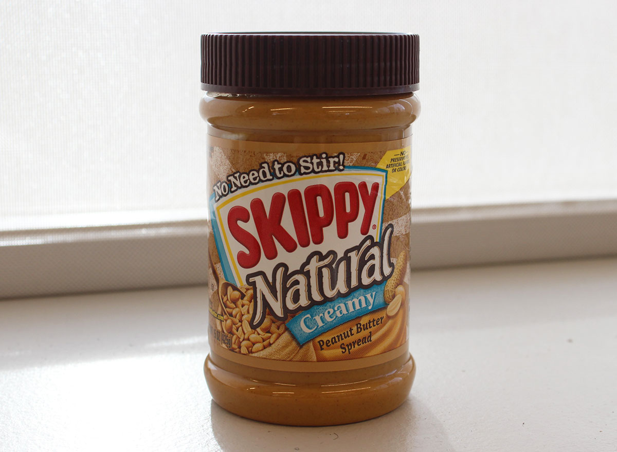 skippy natural peanut butter jar