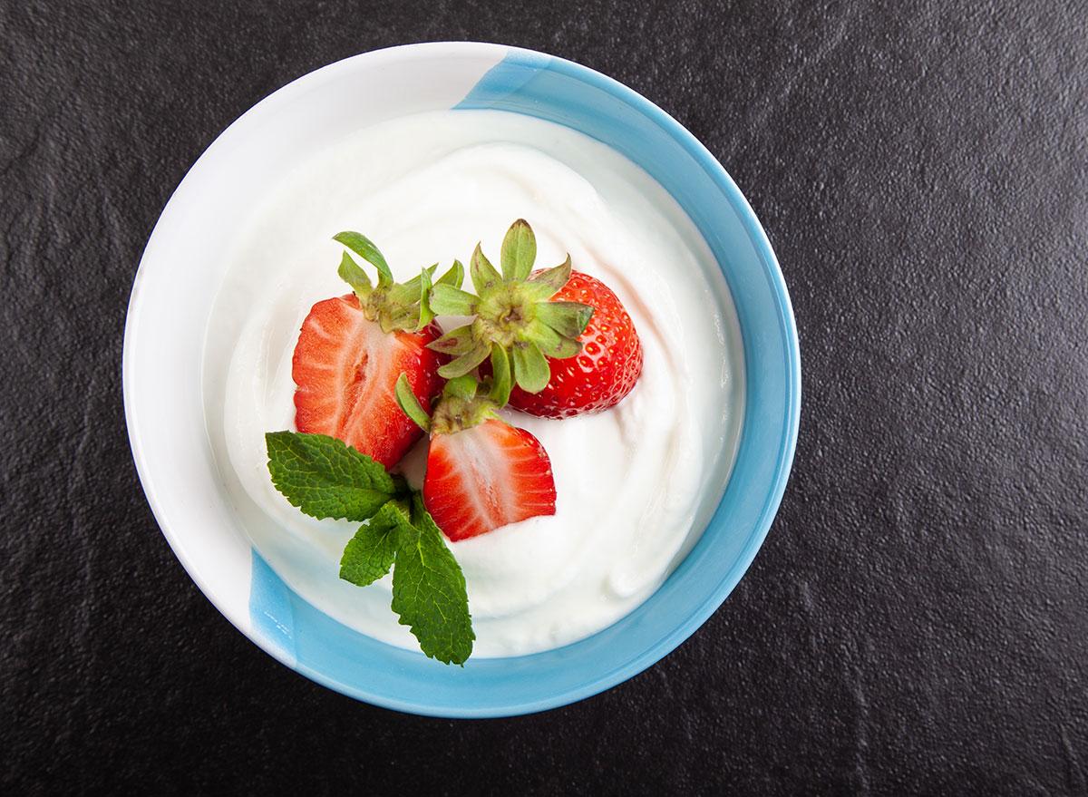 bowl of skyr yogurt with strawberries