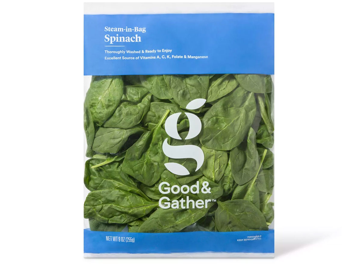 good and gather steam in bag spinach