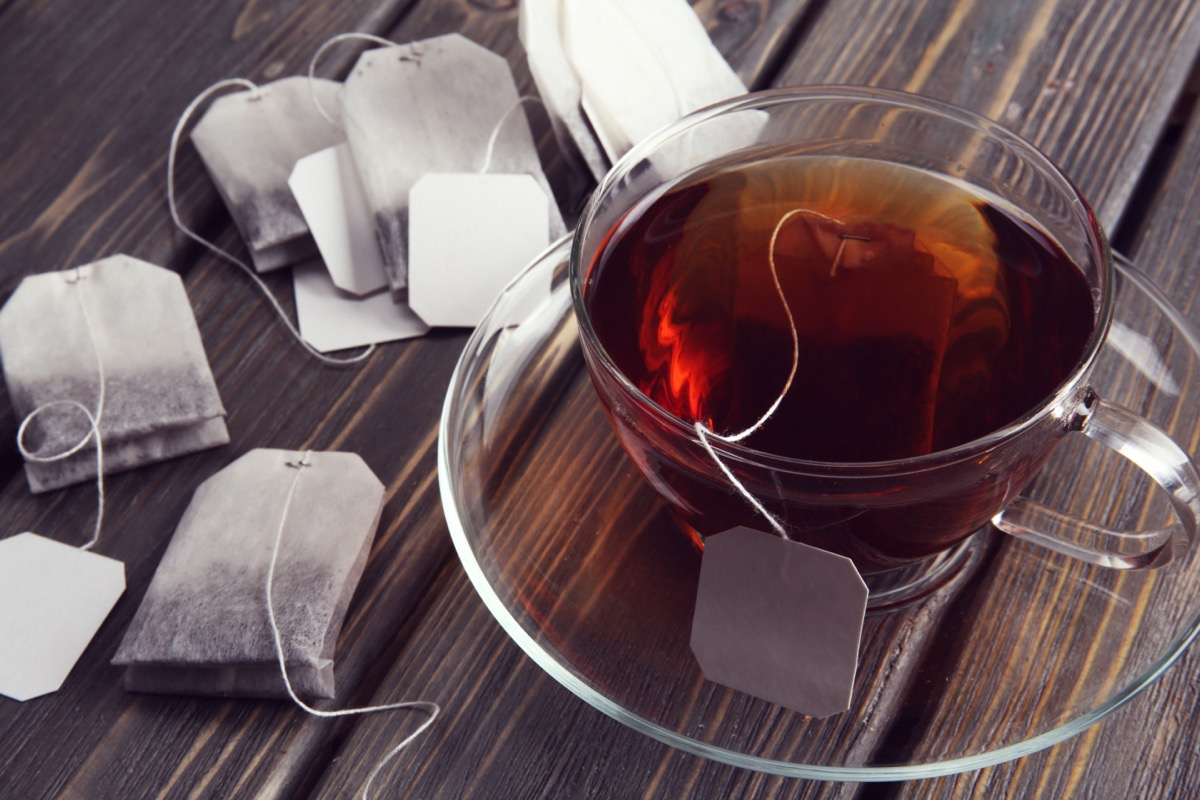 Cup of tea with tea bags