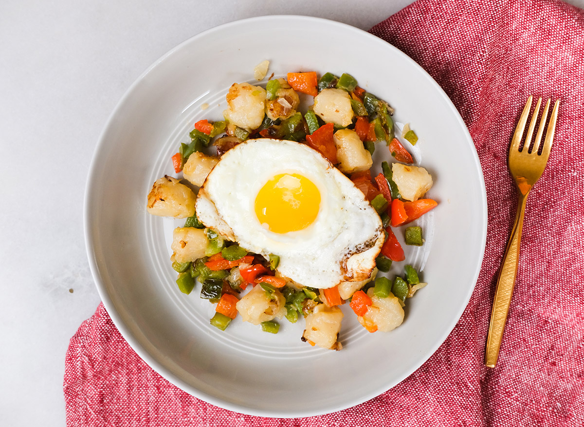 gnocchi breakfast hash with a fried egg