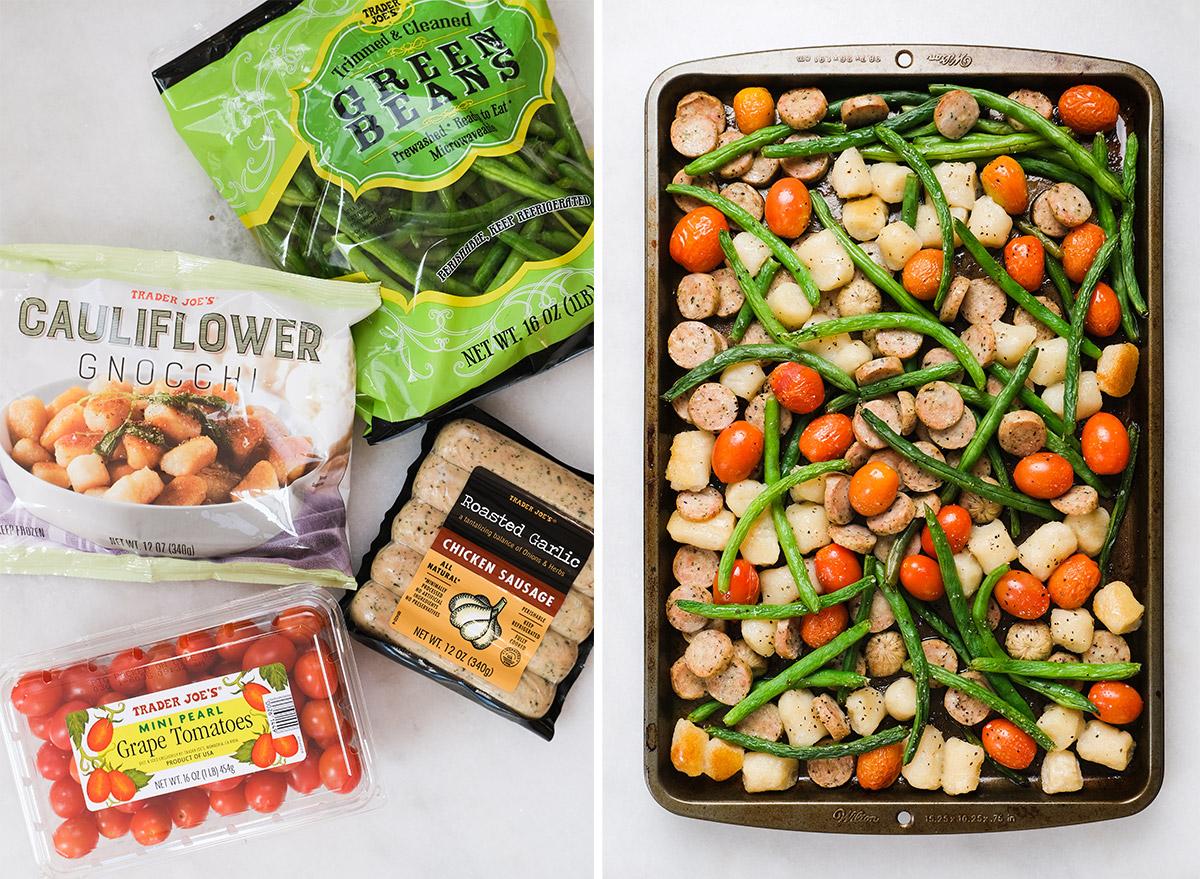 chicken sausage gnocchi sheet pan with ingredients