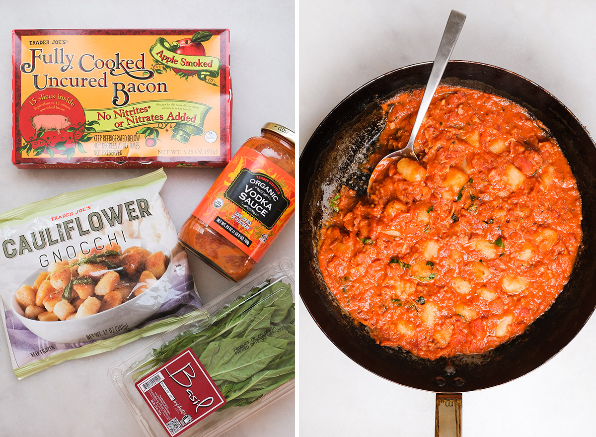 gnocchi alla vodka in a pan with ingredients
