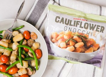 bag of trader joes cauliflower gnocchi with cooked meal with gnocchi