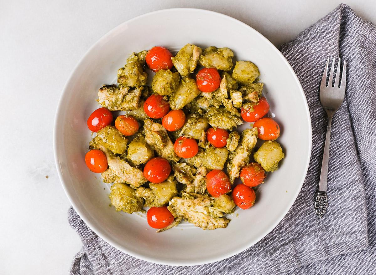 pesto cauliflower gnocchi with tomatoes