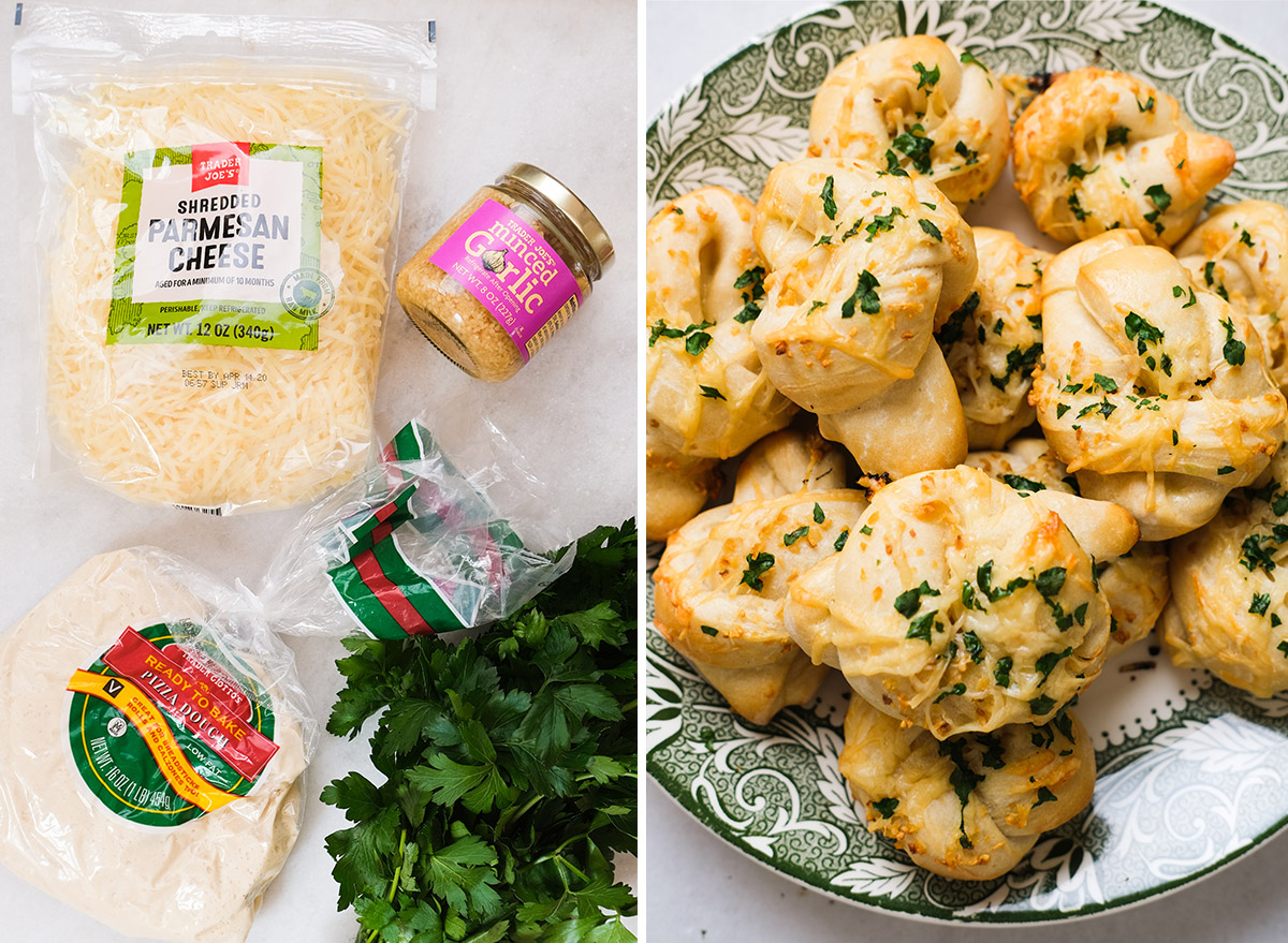garlic knots on a plate with ingredients