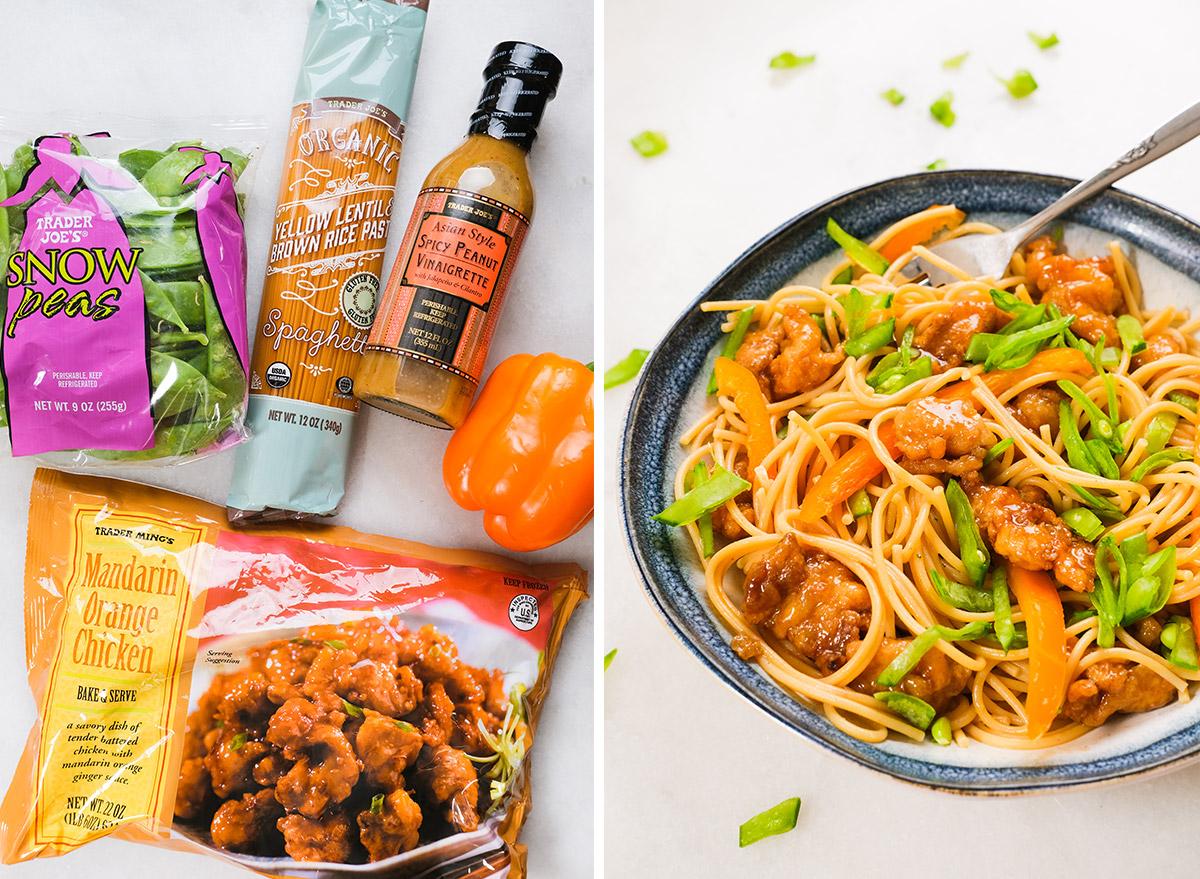 orange chicken pasta with trader joes ingredients