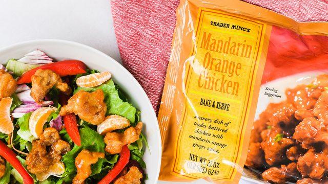 trader joes mandarin orange chicken with a salad