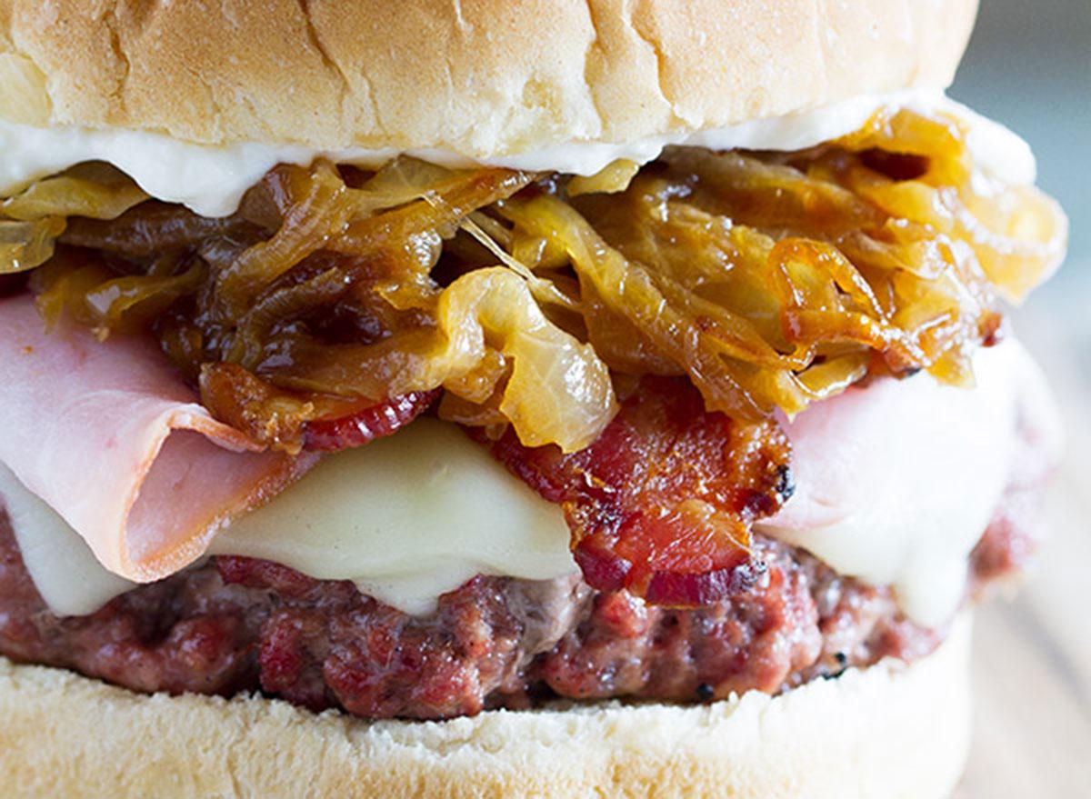 triple pork burgers