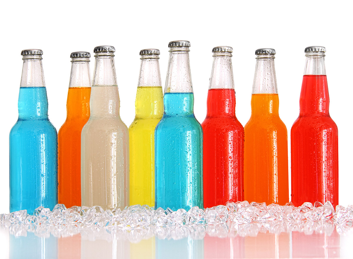 colorful wine cooler drinks in glass bottles