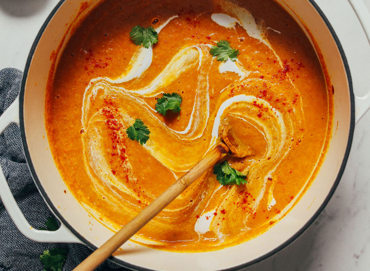 Creamy Curried Cauliflower Lentil Soup recipe from Minimalist Baker