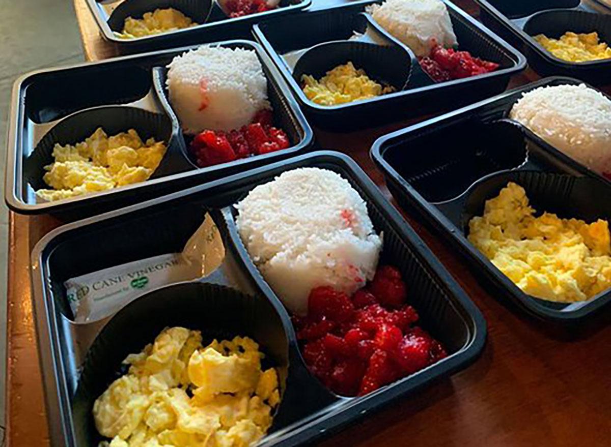 Eggs, rice, barbecued pork food packs