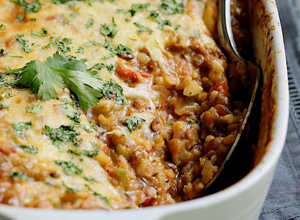 Southwest Lentil Brown Rice Bake