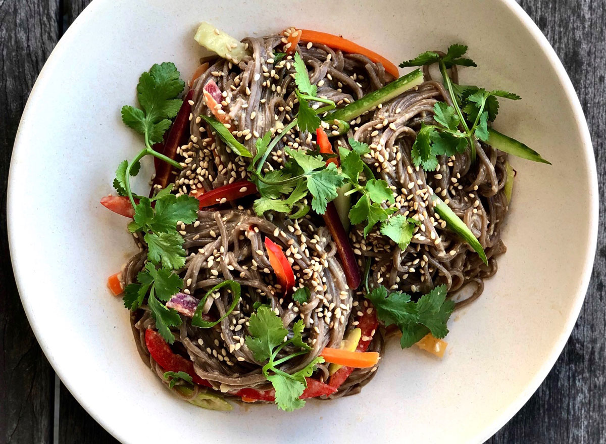 Asian style cold tahini soba noodles