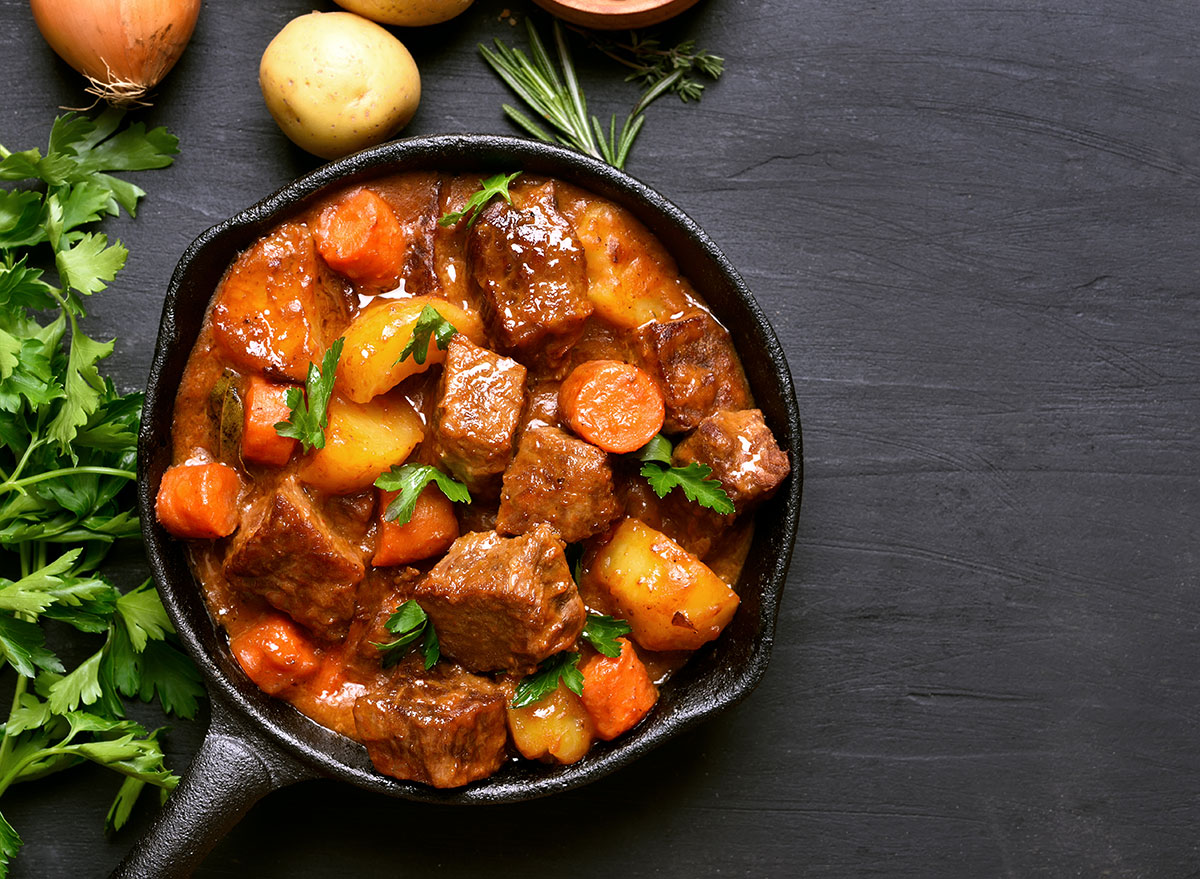 cast iron pan of beef stew
