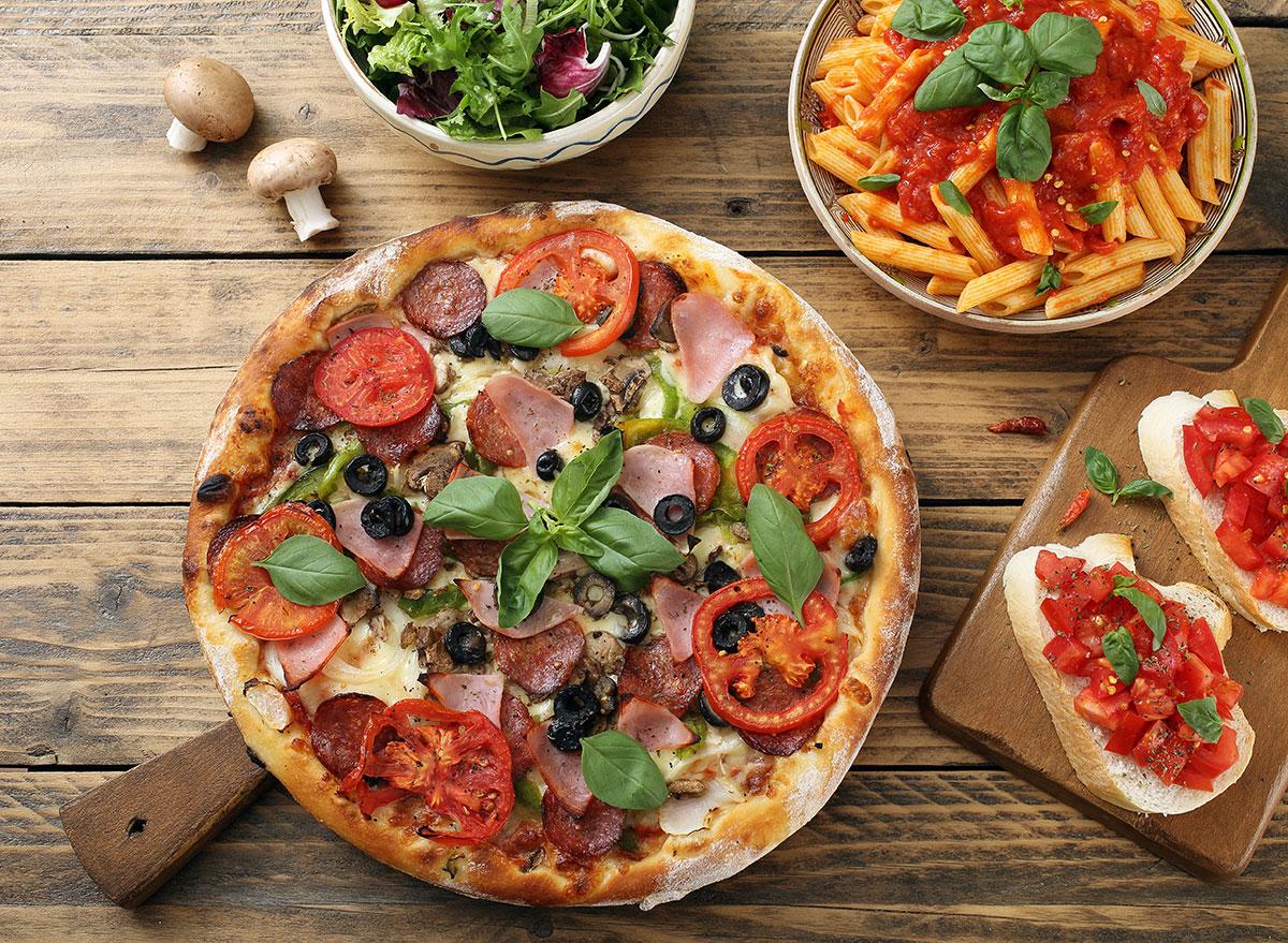 big meal pizza pasta