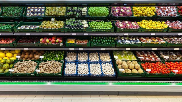 fruit and vegetables in supermarket