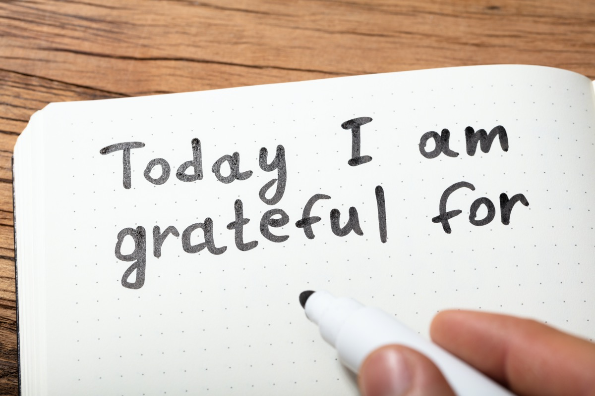 Close-up Of A Person Writing Today I Am Grateful For Text On Notebook With Marker