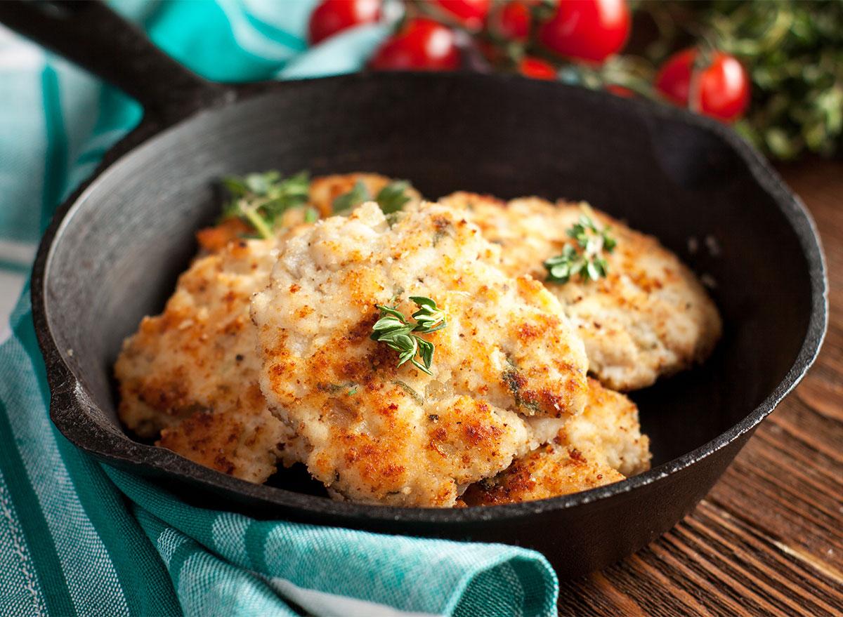 ground chicken patties in skillet